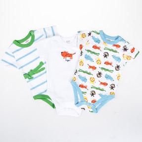 Erkek Bebek Üçlü Kısa Kol Badi Emprime (56-86 cm)
