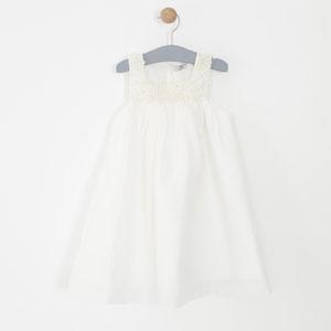 Kız Çocuk Uzun Kol Elbise Krem (1-6 yaş)