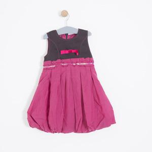 Kız Çocuk Uzun Kol Elbise Koyu Fuşya (1-6 yaş)