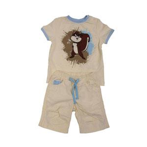 Erkek Bebek Alt Üst Örme Dokuma Set Bej (74 cm)