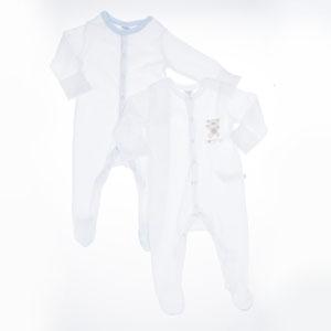 Erkek Bebek İkili Tulum Set Beyaz (0-2 yaş)