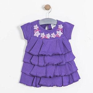 Kız Bebek Kısa Kol Elbise Koyu Mor (74 cm-3 yaş)