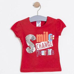 Kız Bebek Kısa Kol Tişört Kırmızı (74 cm-3 yaş)