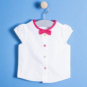 Kız Çocuk Kısa Kol Gömlek Beyaz (74 cm-3 yaş)
