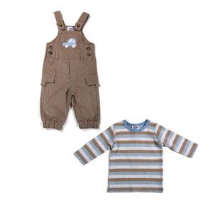 Erkek Çocuk Uzun Kol Tişört Salopet Set Bej (56-92 cm)