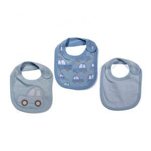 Blue Cars Erkek Bebek Üçlü Önlük Set Mavi