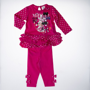 Disney Minnie Uzun Kol T-Shirt Tayt Set Fuşya (9 ay-7 yaş)