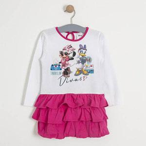Disney Minnie Uzun Kol Kız Çocuk Elbise Beyaz (1-7 yaş)