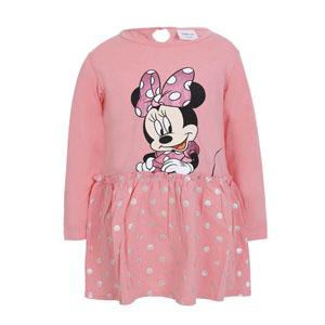 Disney Minnie Uzun Kol Kız Çocuk Elbise Soft Pembe (1-7 yaş)