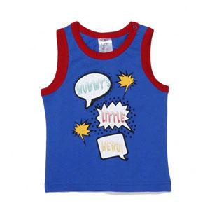 Pop Art Erkek Çocuk Kolsuz T-Shirt Açık Saks (74 cm-7 yaş)