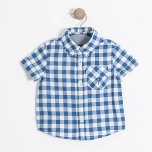 Erkek Çocuk Kısa Kol Gömlek Deniz Mavi (74 cm-7 yaş)