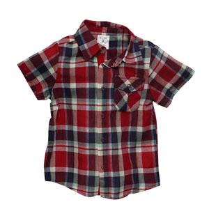 Erkek Çocuk Kısa Kol Gömlek Kırmızı (74 cm-7 yaş)