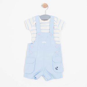 Erkek Bebek Kısa Kol Tişört Salopet Set Mavi (56 cm-3 yaş)