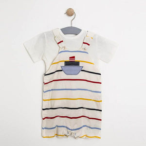 Erkek Bebek Kısa Kol Tişört Salopet Set Ringelli (56-92 cm)