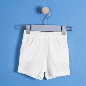 Erkek Bebek Şort Beyaz (56 cm-3 yaş)
