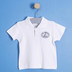 Erkek Bebek Kısa Kol Tişört Beyaz (56 cm-3 yaş)