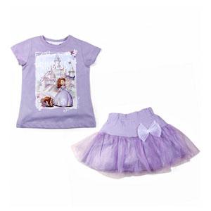 Disney Sofia Romantic Kısa Kol T-Shirt ve Etek Set Açık Lila (2-7 yaş)
