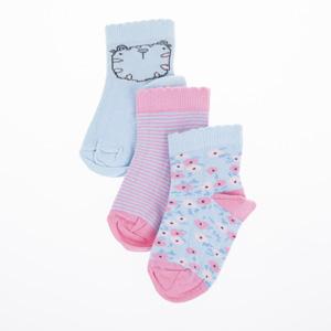 Kız Çocuk Üçlü Çorap Mavi (19-34 numara)