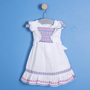Kız Çocuk Kolsuz Elbise Beyaz (74 cm-7 yaş)