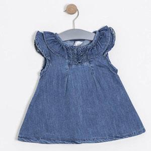 Kız Çocuk Kısa Kol Elbise Koyu İndigo (74 cm-7 yaş)