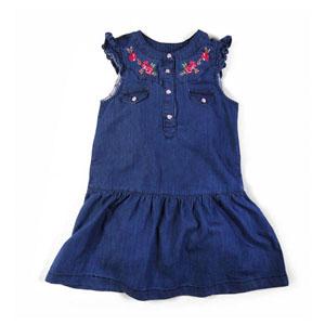 Kız Bebek Kısa Kol Kot Elbise Mavi (74 cm-7 yaş)