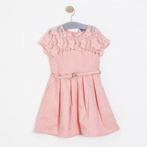 Kız Çocuk Kısa Kol Elbise Açık Gül (7-12 yaş)