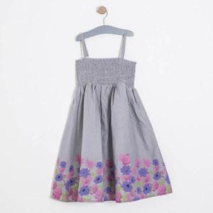 Kız Çocuk Askılı Elbise Gri (7-12 yaş)