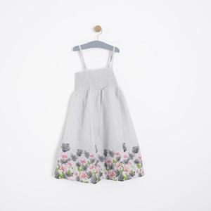 Kız Çocuk Askılı Elbise Açık Gri (7-12 yaş)