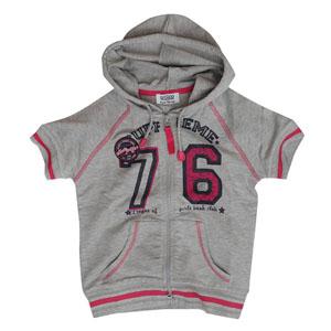 Pop Girls Kız Çocuk Kısa Kol Sweatshirt Gri Melanj (7-12 yaş)