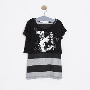 Kız Çocuk Kısa Kol Tişört Siyah (7-12 yaş)