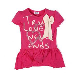 Pop Girls Kısa Kol Kız Çocuk T-Shirt Fuşya (7-12 yaş)