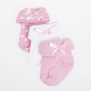 Kız Bebek Üçlü Çorap Set Pembe (14-18 numara)