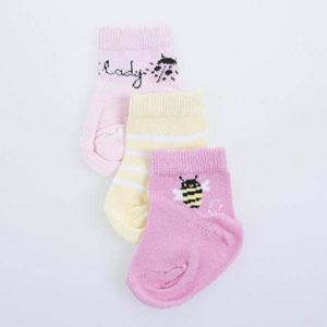 Kız Bebek Üçlü Çorap Pembe (14-23 numara)