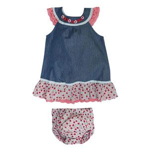 Kız Bebek Kot Kısa Kol Elbise ve Külot Set Mavi (0-2 yaş)