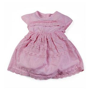 Kız Bebek Kısa Kol Elbise Açık Pembe (0-3 yaş)