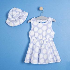 Kız Bebek Kolsuz Elbise Şapka Set Açık Mavi (56 cm-3 yaş)