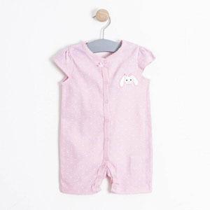 Kız Bebek İkili Kısa Kol Tulum Set Pembe (56-86 cm)