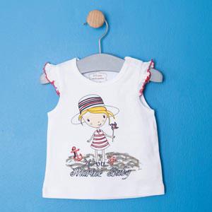 Kız Bebek Kısa Kol T-shirt Beyaz (56-92 cm)