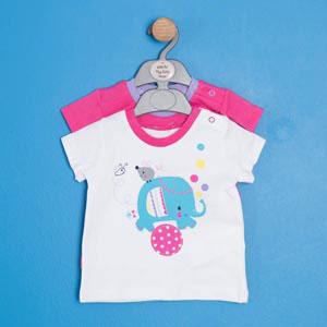 Kız Bebek İkili Kısa Kol T-shirt Set Beyaz (56-92 cm)