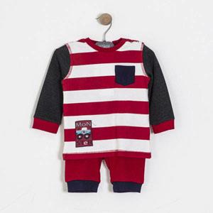Erkek Çocuk Pijama Takımı Gri Melanj