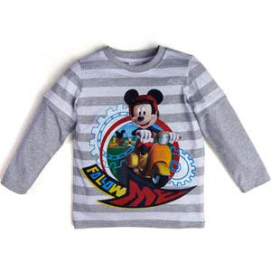 Disney Mickey Mouse Erkek Çocuk Uzun Kol Tişört Gri Melanj (74 cm-7 ya