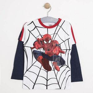 Spider-Man Uzun Kol Erkek Çocuk T-Shirt Koyu Beyaz (2-8 yaş)