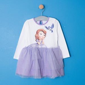 Disney Sofia Uzun Kol Kız Çocuk Elbise Beyaz (2-8 yaş)