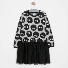 Kız Çocuk Elbise Gri Melanj