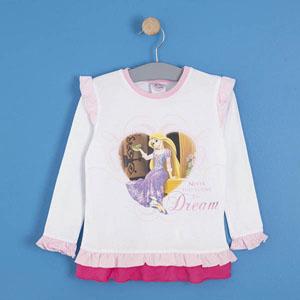 Disney Princess Uzun Kol Kız Çocuk T-Shirt Beyaz (2-8 yaş)