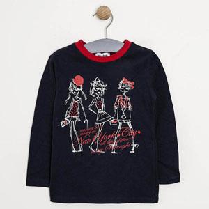 Pop Girls Uzun Kol Kız Çocuk T-Shirt Lacivert (1-7 yaş)