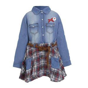 Kız Çocuk Uzun Kol Kot Elbise Lacivert (7-12 yaş)