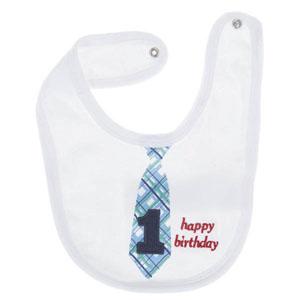 Happy Birthday 1 Yaş Erkek Çocuk Önlük Beyaz