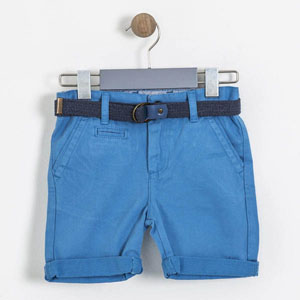 Erkek Çocuk Kemerli Şort Göl Mavi (3-12 yaş)