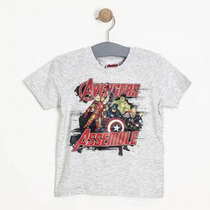Erkek Çocuk Avengers Kısa Kol Tişört Açık Gri Melanj (3-8 yaş)